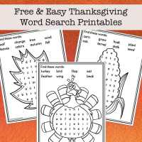 Easy Thanksgiving Word Search Free Printables for Kids