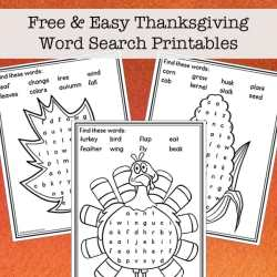 Free and Easy Thanksgiving Word Search Printables for Kids