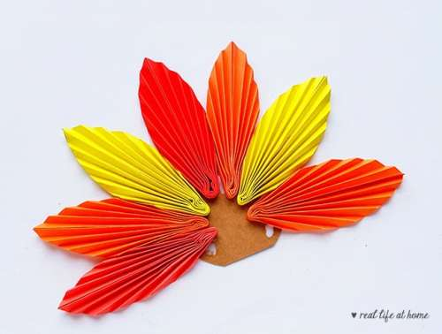Step 11 of Folded Paper Turkey Craft from Real Life at Home