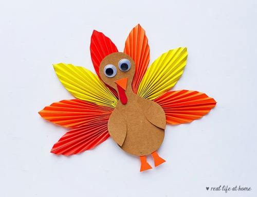Step 12 of Folded Paper Turkey Craft from Real Life at Home