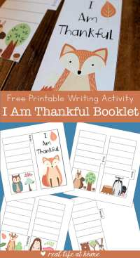I Am Thankful Free Printable Writing Activity for Kids