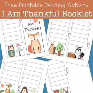 I Am Thankful Free Printable Writing Activity for Kids - Make this tab book to record all of the things you're thankful for!