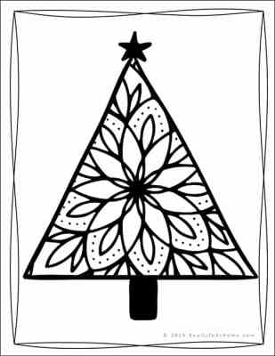 Christmas Tree Coloring Page (from the Free Christmas Coloring Pages Set from Real Life at Home)