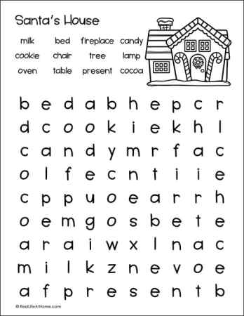 Free Santa's House Word Search Printable for Kids