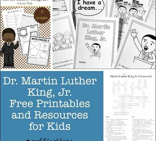 Dr. Martin Luther King Jr. Printables, Worksheets, and Resources for Kids