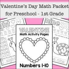 Valentine's Day Math Packet for Preschool - 1st Grade