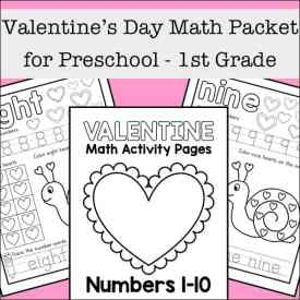 Valentine's Day Math Packet for Preschool - 1st Grade