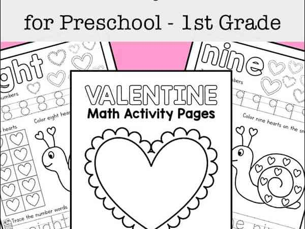 Valentine's Day Math Worksheets for Preschool – 1st Grade