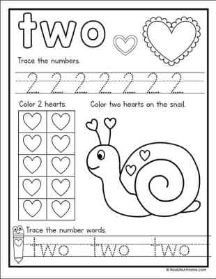 Valentine's Day Math Worksheet for Numbers 1 - 10