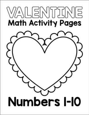 Valentine Math Activity Pages - Numbers 1 - 10