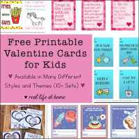 Lots of Free Printable Valentine Cards for Kids (Variety of Themes and Styles)