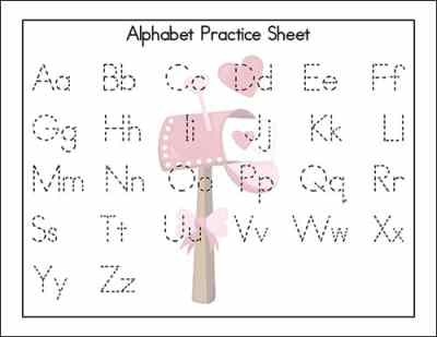 Letter Practice Page - from the Valentine's Day Alphabet Printables Packet from Real Life at Home