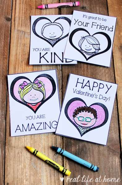 Positive and Kind Valentine Cards for Kids to Color (Free Set of 8 Printable Valentines)