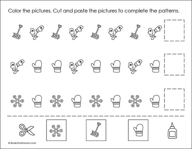 Free Winter Math Patterns Printable Worksheets (Preschool - 1st Grade)