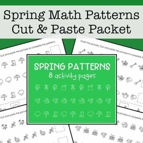Cut and Paste Spring Math Picture Patterns Free Printables