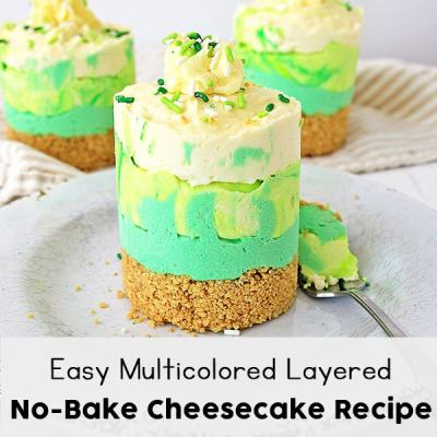 Easy Multicolored Layered No-Bake Cheesecake Recipe