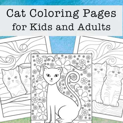 Cat Coloring Pages for Kids and Adults (3 Free Printables)