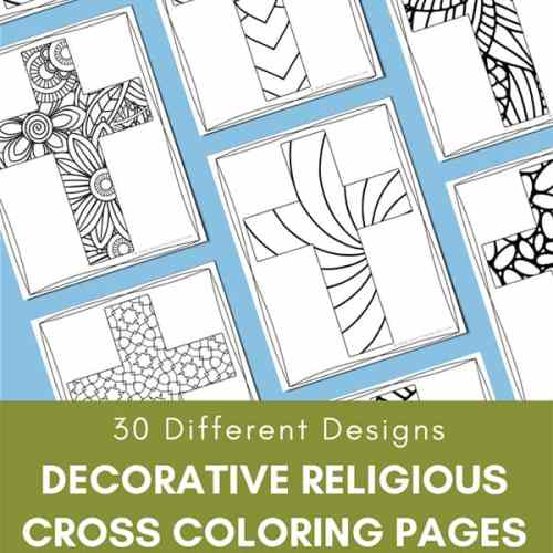 Decorative Religious Cross Coloring Pages Set