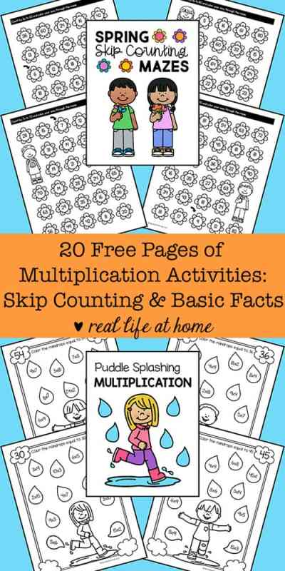 20 Free Pages of Multiplication Worksheets: Basic Facts and Skip Counting