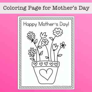 Happy Mother's Day Coloring Page for Kids