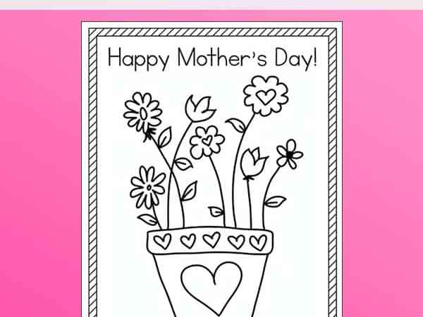 Happy Mother's Day Coloring Page Free Printable for Kids