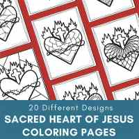 Sacred Heart Coloring Pages for Kids and Adults (20 Different Designs)