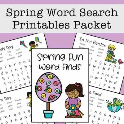 Spring Word Search Printable Packet: Free Set of Four Word Finds for Kids