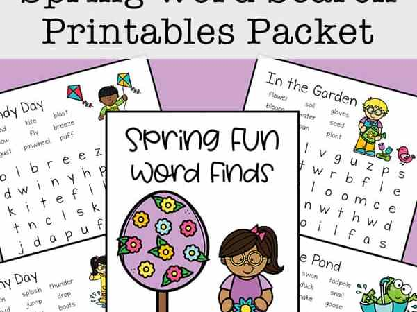 Four Free Spring Word Search Printables for Kids