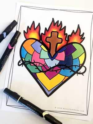 Sacred Heart Coloring Page (from Real Life at Home)