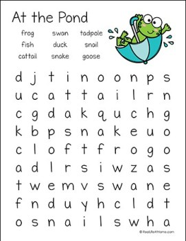 At the Pond Word Search Printable