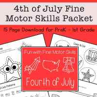 4th of July Fine Motor Skills Packet for Preschool - 1st Grade