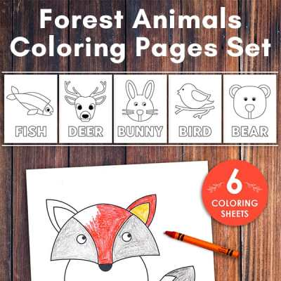 Forest Animals Coloring Pages Set