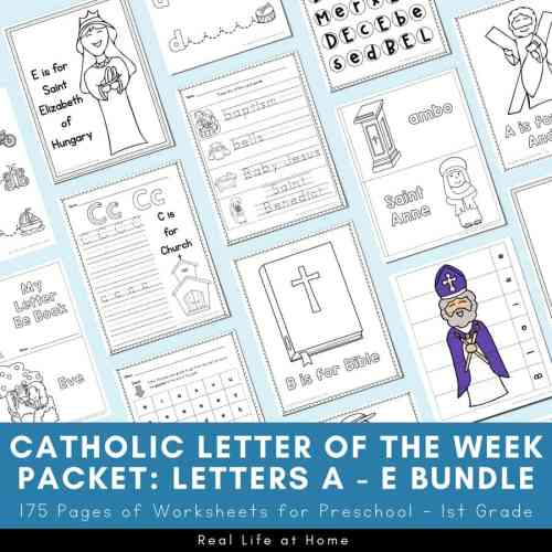 small resolution of Catholic Letter of the Week Worksheets and Coloring Pages for A - E
