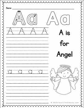 A is for Angel Handwriting Page