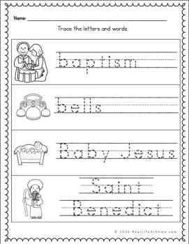 Catholic handwriting pages for letter B