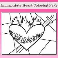 Immaculate Heart of Mary Coloring Page Free Printable