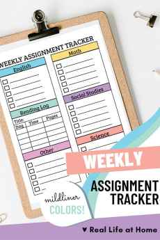 Weekly Assignment Sheet for Students