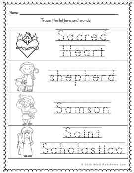 Letter S Handwriting Page for Catholic Kids