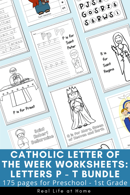small resolution of Catholic Letter of the Week Worksheets and Coloring Pages for P - T
