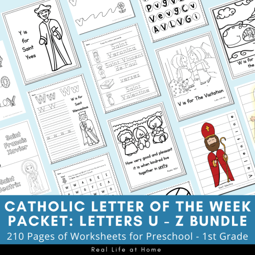 small resolution of Catholic Letter of the Week Worksheets and Coloring Pages for U - Z