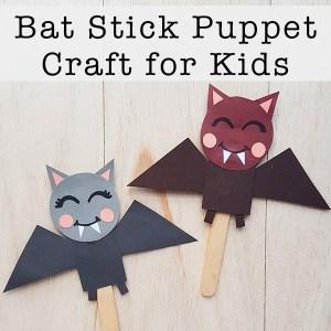 Bat Craft - Bat Stick Puppet Craft