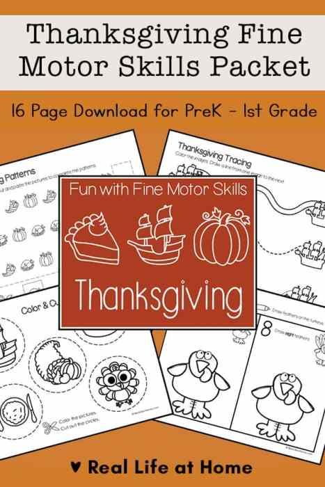 Thanksgiving Fine Motor Skills Packet