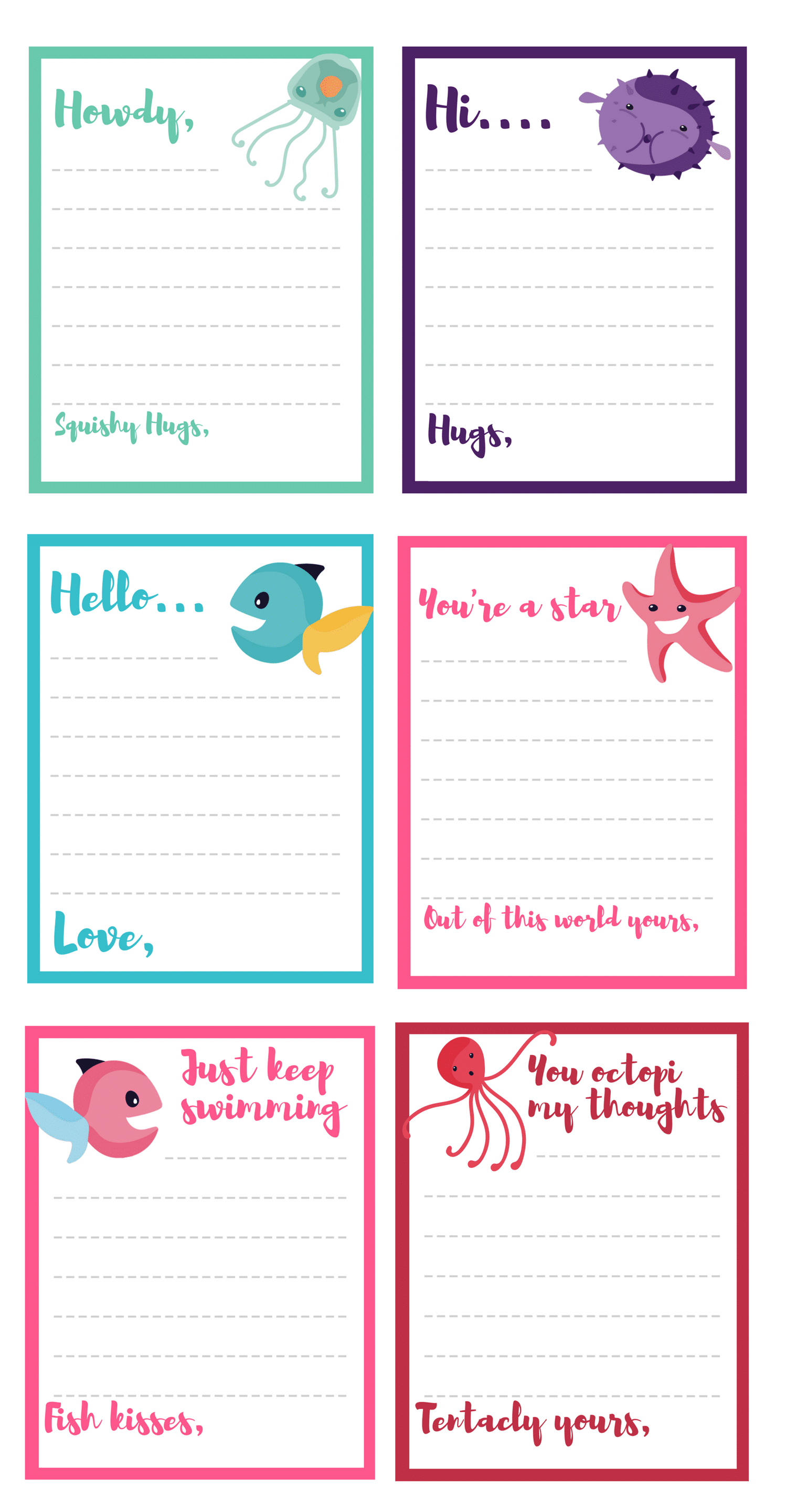 Free Under The Sea Note Card Printables Inspired By Disney