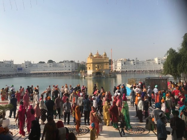 View of the Golden Temple in Amritsar from the steps of the Langar Hall