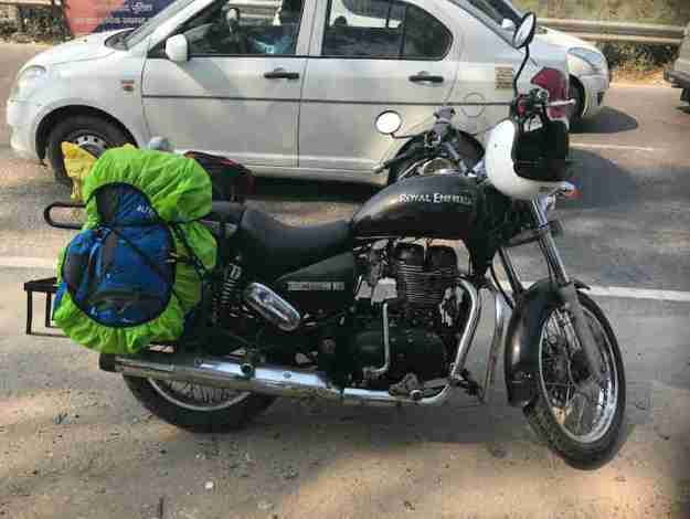 Adventure ready Royal Enfield Thunderbird 350 with our bags packed and new helmets