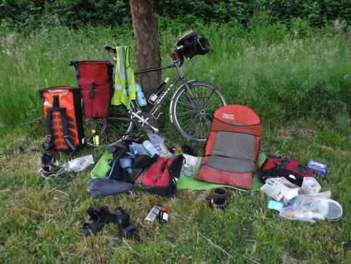 This cycle touring kit list is perfect for exploding panniers