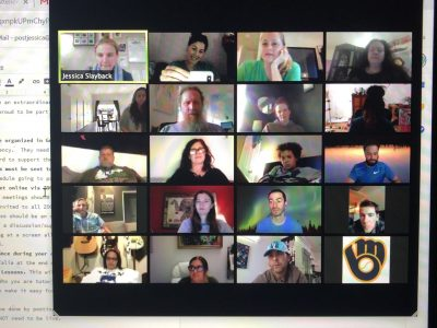 REALM online staff meeting during the Covid-19 outbreak.