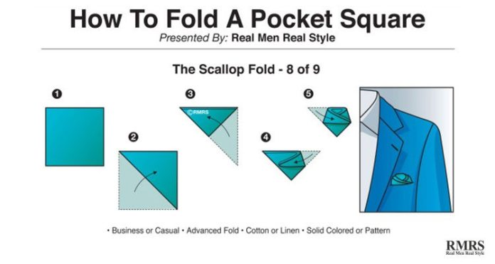 how do you fold a pocket square - scallop