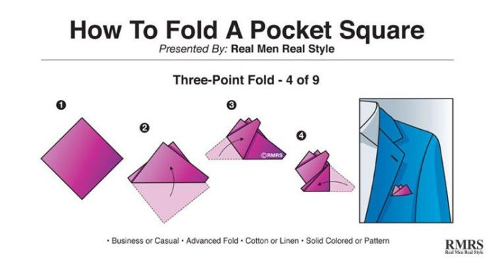 folding pocket squares - three-point