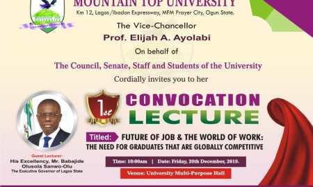 Mountain Top University (MTU) Maiden Convocation Ceremony Schedule